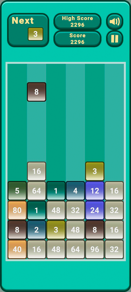 Falling Number Blocks Puzzle Game Screen