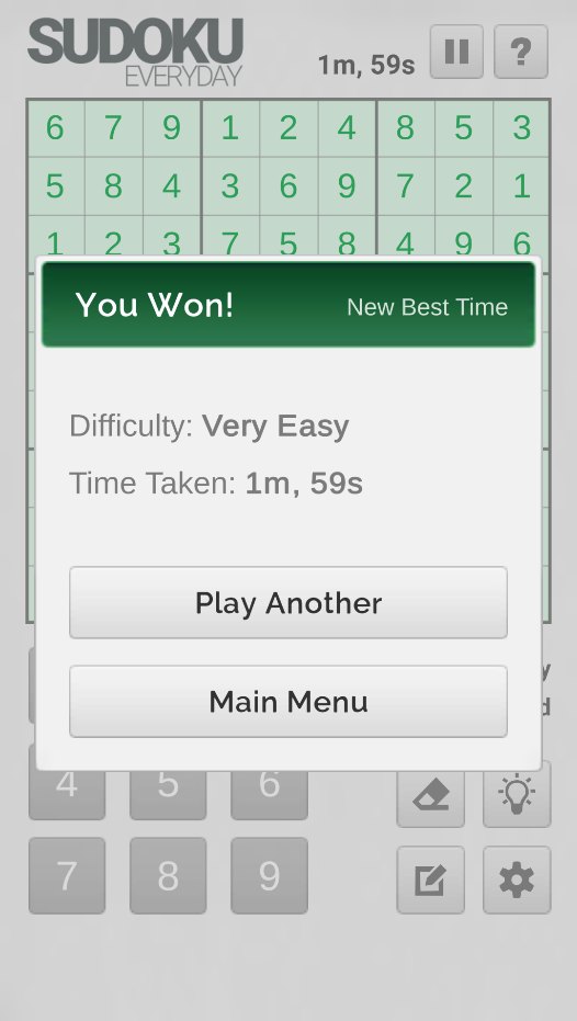 Sudoku Everyday Game Win